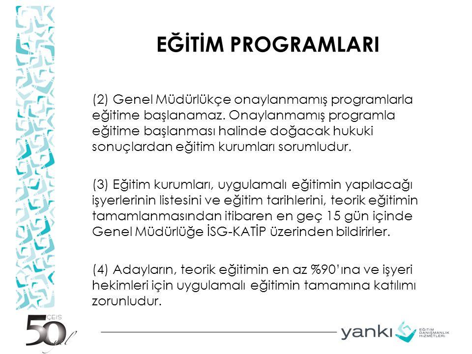 EĞİTİM PROGRAMLARI (2) Genel Müdürlükçe onaylanmamış programlarla eğitime başlanamaz. Onaylanmamış programla eğitime başlanması halinde doğacak hukuki