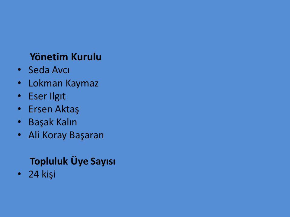 Yönetim Kurulu Seda Avcı Lokman Kaymaz Eser Ilgıt Ersen Aktaş Başak Kalın Ali Koray Başaran Topluluk Üye Sayısı 24 kişi