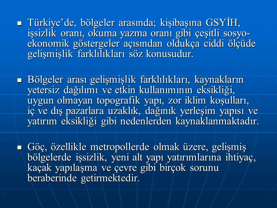 Türkiye'de, bölgeler arasında; kişibaşına GSYİH, işsizlik oranı, okuma yazma oranı gibi çeşitli sosyo- ekonomik göstergeler açısından oldukça ciddi öl