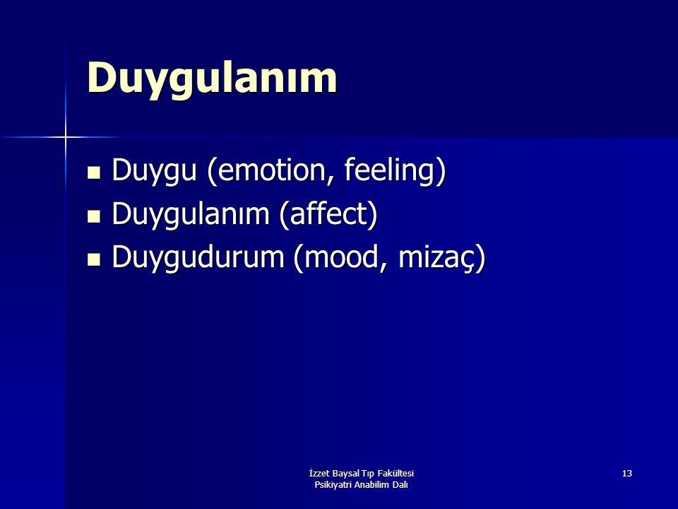 İzzet Baysal Tıp Fakültesi Psikiyatri Anabilim Dalı 13 Duygulanım Duygu (emotion, feeling) Duygu (emotion, feeling) Duygulanım (affect) Duygulanım (af