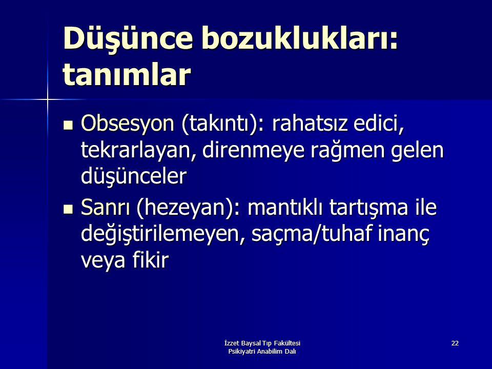 İzzet Baysal Tıp Fakültesi Psikiyatri Anabilim Dalı 22 Düşünce bozuklukları: tanımlar Obsesyon (takıntı): rahatsız edici, tekrarlayan, direnmeye rağme