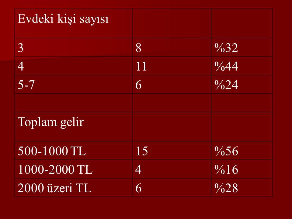 Evdeki kişi sayısı 38%32 411%44 5-76%24 Toplam gelir 500-1000 TL15%56 1000-2000 TL4%16 2000 üzeri TL6%28