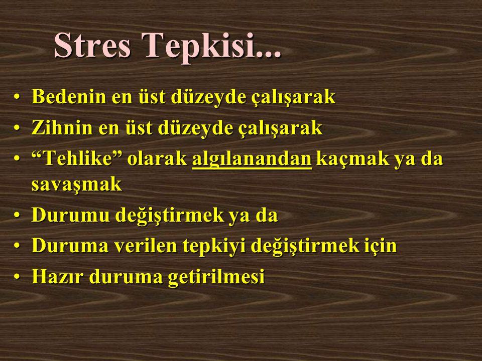 """Stres Tepkisi... Bedenin en üst düzeyde çalışarakBedenin en üst düzeyde çalışarak Zihnin en üst düzeyde çalışarakZihnin en üst düzeyde çalışarak """"Tehl"""