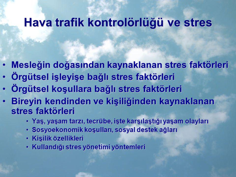 Hava trafik kontrolörlüğü ve stres Mesleğin doğasından kaynaklanan stres faktörleriMesleğin doğasından kaynaklanan stres faktörleri Örgütsel işleyişe