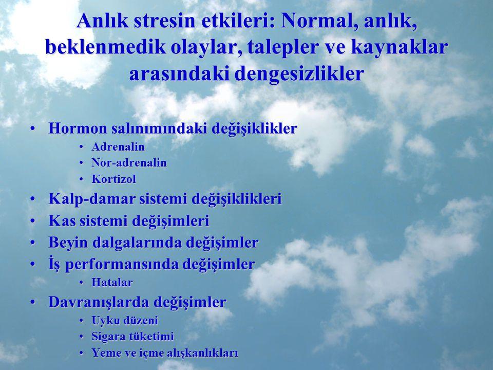 Anlık stresin etkileri: Normal, anlık, beklenmedik olaylar, talepler ve kaynaklar arasındaki dengesizlikler Hormon salınımındaki değişikliklerHormon s