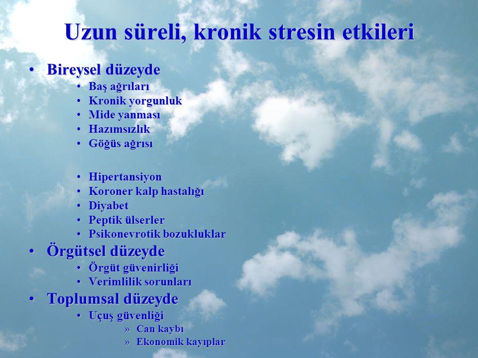 Uzun süreli, kronik stresin etkileri Bireysel düzeydeBireysel düzeyde Baş ağrılarıBaş ağrıları Kronik yorgunlukKronik yorgunluk Mide yanmasıMide yanma
