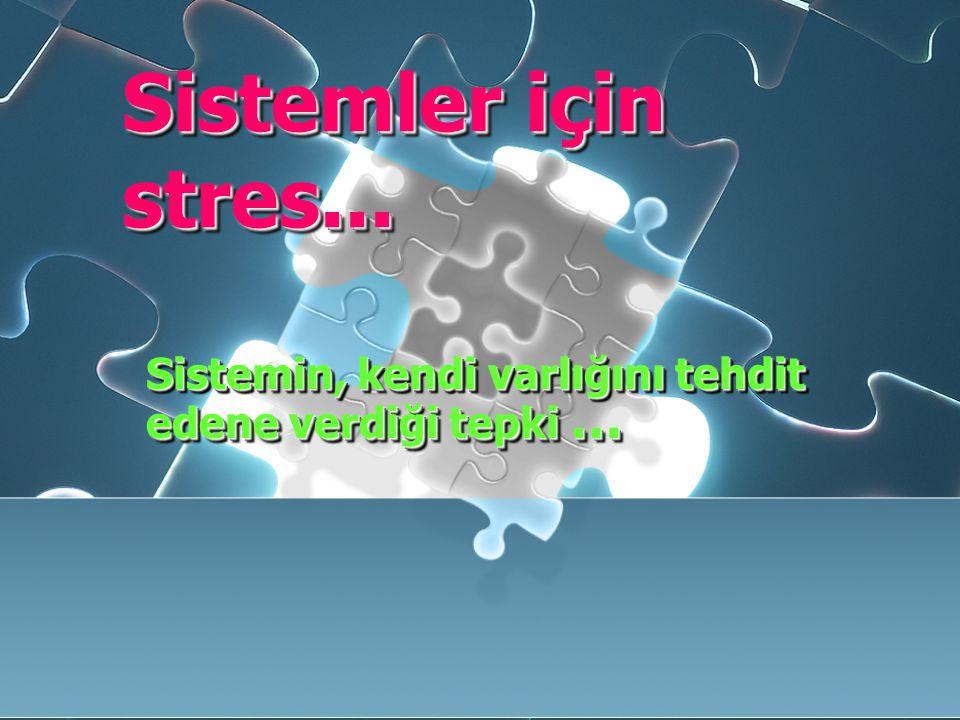 Sistemler için stres... Sistemin, kendi varlığını tehdit edene verdiği tepki …