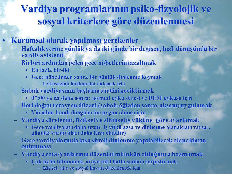 Vardiya programlarının psiko-fizyolojik ve sosyal kriterlere göre düzenlenmesi Kurumsal olarak yapılması gerekenlerKurumsal olarak yapılması gerekenle