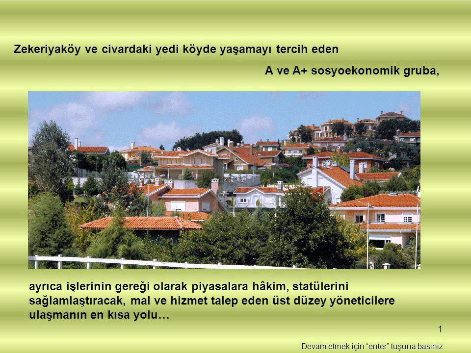 1 Zekeriyaköy ve civardaki yedi köyde yaşamayı tercih eden A ve A+ sosyoekonomik gruba, ayrıca işlerinin gereği olarak piyasalara hâkim, statülerini sağlamlaştıracak, mal ve hizmet talep eden üst düzey yöneticilere ulaşmanın en kısa yolu… Devam etmek için enter tuşuna basınız