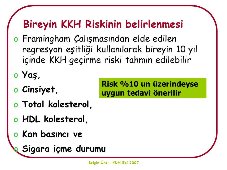 Belgin Ünal- KDH Epi 2007 Bireyin KKH Riskinin belirlenmesi oFramingham Çalışmasından elde edilen regresyon eşitliği kullanılarak bireyin 10 yıl içind