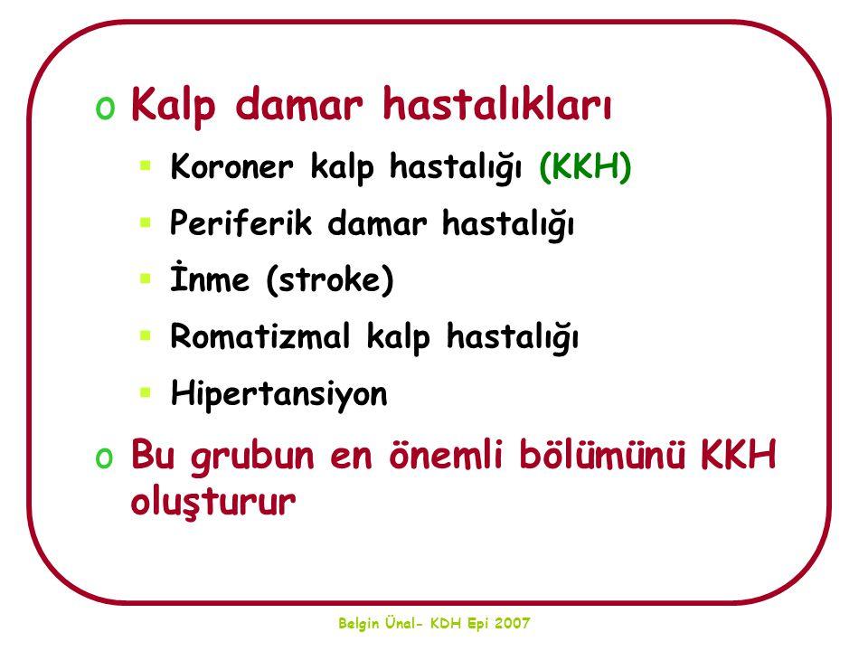 Belgin Ünal- KDH Epi 2007 oKalp damar hastalıkları  Koroner kalp hastalığı (KKH)  Periferik damar hastalığı  İnme (stroke)  Romatizmal kalp hastal