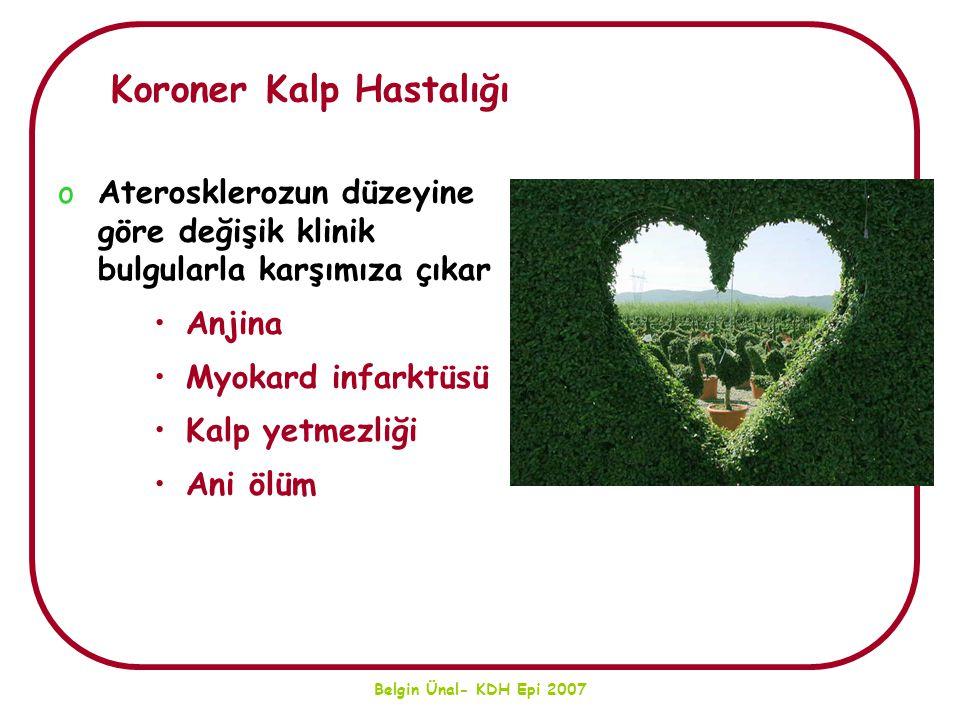 Belgin Ünal- KDH Epi 2007 Koroner Kalp Hastalığı oAterosklerozun düzeyine göre değişik klinik bulgularla karşımıza çıkar Anjina Myokard infarktüsü Kal