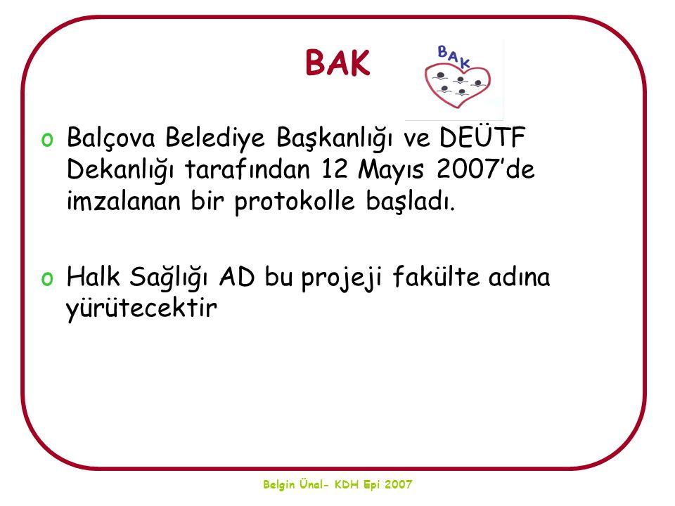 Belgin Ünal- KDH Epi 2007 BAK oBalçova Belediye Başkanlığı ve DEÜTF Dekanlığı tarafından 12 Mayıs 2007'de imzalanan bir protokolle başladı. oHalk Sağl