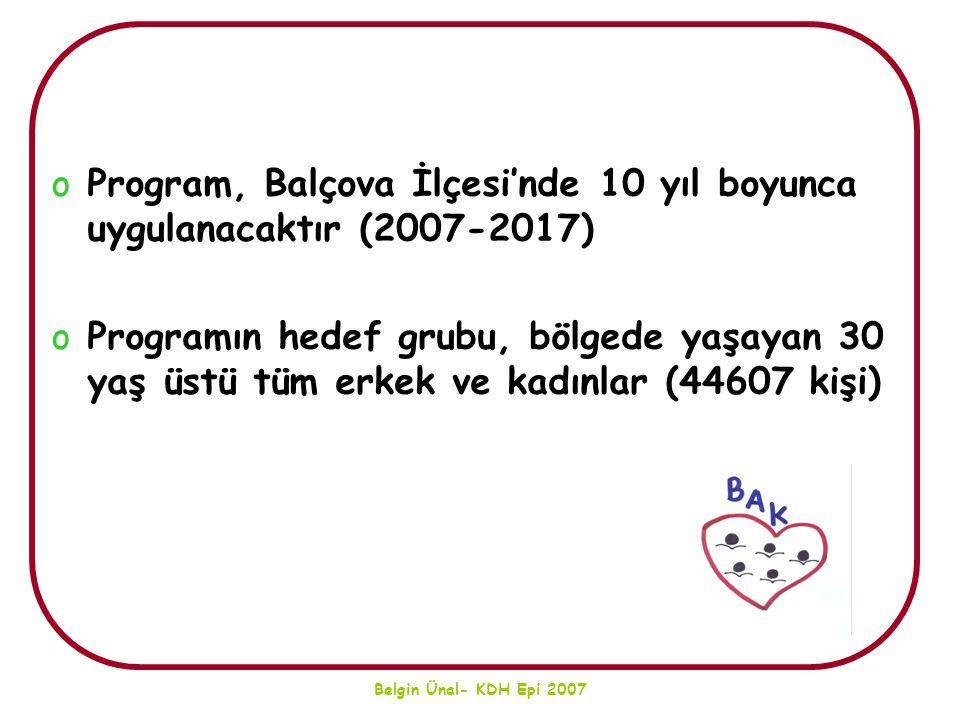 Belgin Ünal- KDH Epi 2007 oProgram, Balçova İlçesi'nde 10 yıl boyunca uygulanacaktır (2007-2017) oProgramın hedef grubu, bölgede yaşayan 30 yaş üstü t