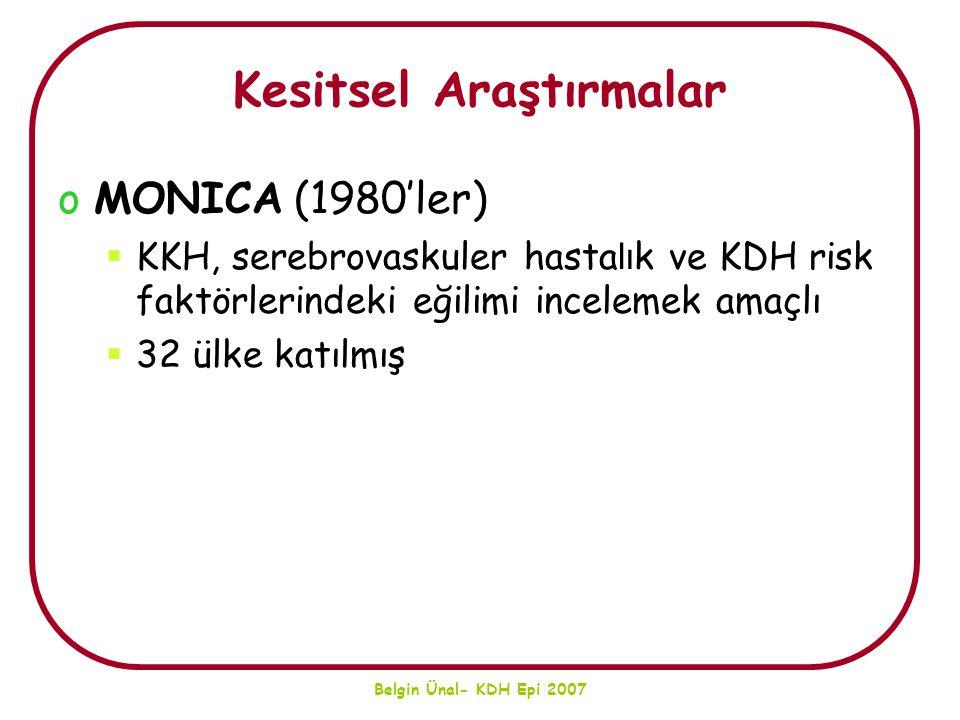Belgin Ünal- KDH Epi 2007 Türkiye'de Sorunun Boyutu… Risk faktörüSaptanan Sıklıklar HipertansiyonKadın %20-35 Erkek %15-20 Sigara kullanımıKadın %20-35** Erkek %50-70 HiperkolesterolemiKadın %10-25 Erkek %12-25 DiyabetKadın %8.0 Erkek %6.2 BGT %6.7 ObeziteKadın %40-60 Erkek %15-30 KKH sıklığı Erkeklerde %5-9 Kadınlarda %5-14