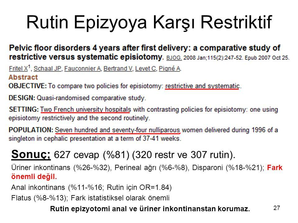 Rutin Epizyoya Karşı Restriktif Sonuç; 627 cevap (%81) (320 restr ve 307 rutin). Üriner inkontinans (%26-%32), Perineal ağrı (%6-%8), Disparoni (%18-%