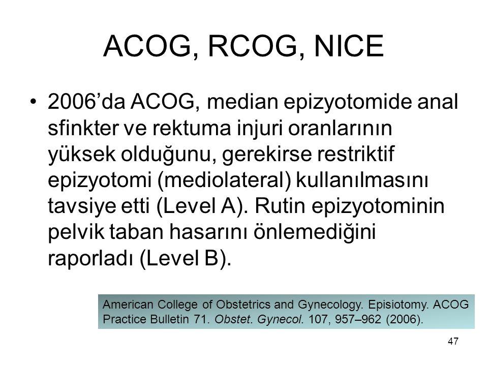 ACOG, RCOG, NICE 2006'da ACOG, median epizyotomide anal sfinkter ve rektuma injuri oranlarının yüksek olduğunu, gerekirse restriktif epizyotomi (medio