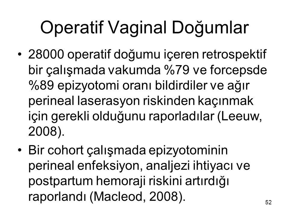 Operatif Vaginal Doğumlar 28000 operatif doğumu içeren retrospektif bir çalışmada vakumda %79 ve forcepsde %89 epizyotomi oranı bildirdiler ve ağır pe