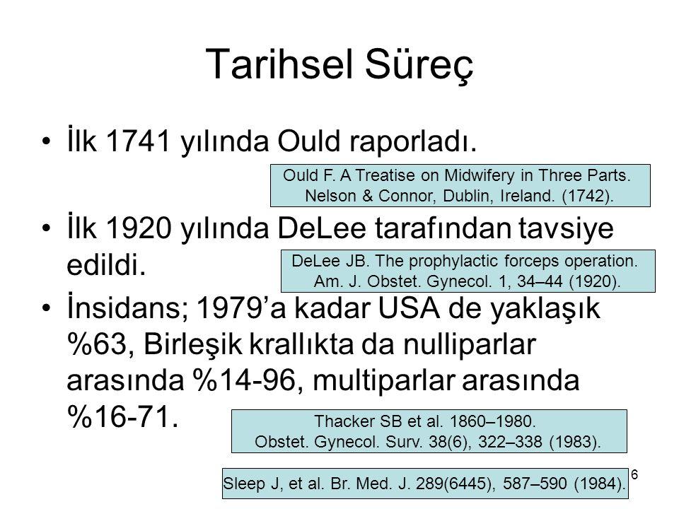 Tarihsel Süreç İlk 1741 yılında Ould raporladı. İlk 1920 yılında DeLee tarafından tavsiye edildi. İnsidans; 1979'a kadar USA de yaklaşık %63, Birleşik