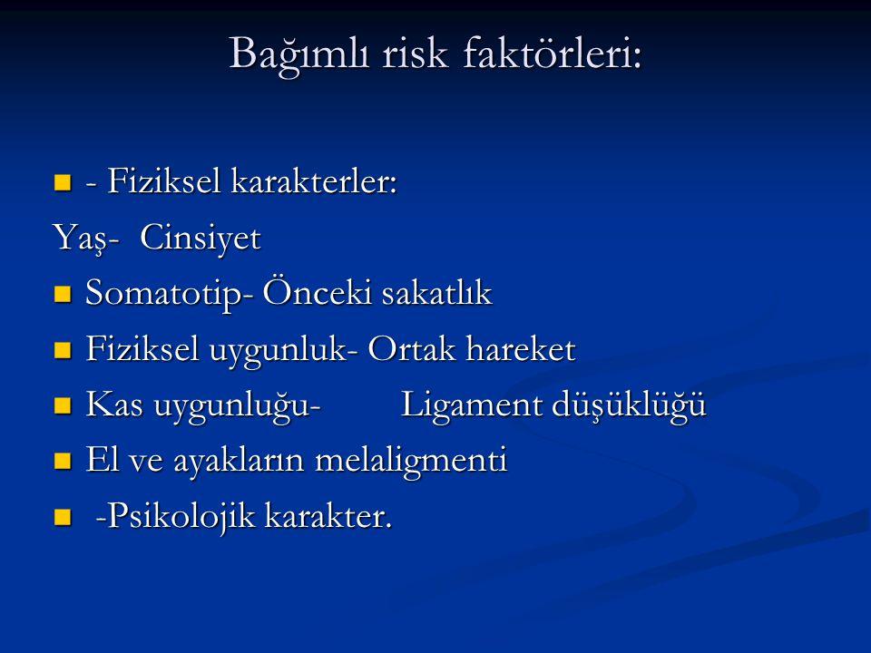 Bağımlı risk faktörleri: - Fiziksel karakterler: - Fiziksel karakterler: Yaş- Cinsiyet Somatotip- Önceki sakatlık Somatotip- Önceki sakatlık Fiziksel