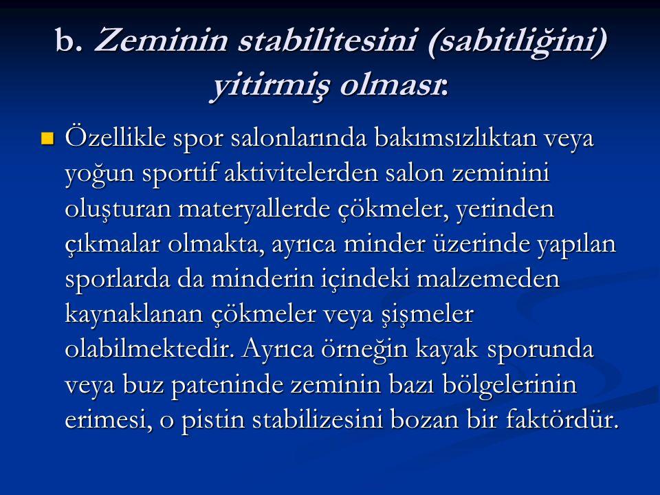 b. Zeminin stabilitesini (sabitliğini) yitirmiş olması: Özellikle spor salonlarında bakımsızlıktan veya yoğun sportif aktivitelerden salon zeminini ol