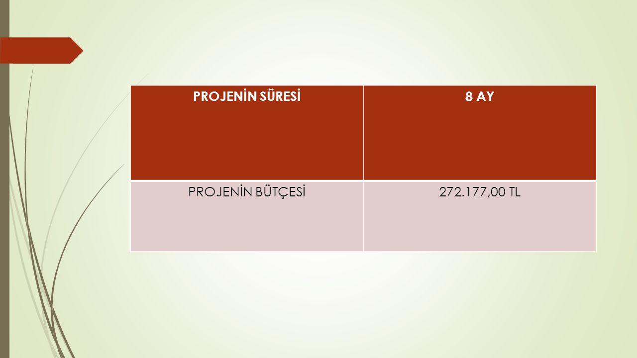 PROJENİN SÜRESİ8 AY PROJENİN BÜTÇESİ272.177,00 TL