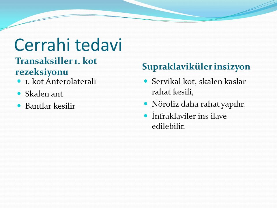 Cerrahi tedavi Transaksiller 1. kot rezeksiyonu Supraklaviküler insizyon 1. kot Anterolaterali Skalen ant Bantlar kesilir Servikal kot, skalen kaslar