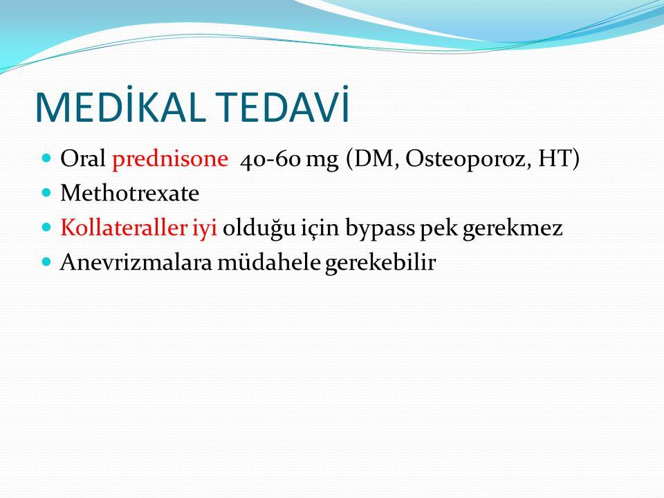 MEDİKAL TEDAVİ Oral prednisone 40-60 mg (DM, Osteoporoz, HT) Methotrexate Kollateraller iyi olduğu için bypass pek gerekmez Anevrizmalara müdahele ger