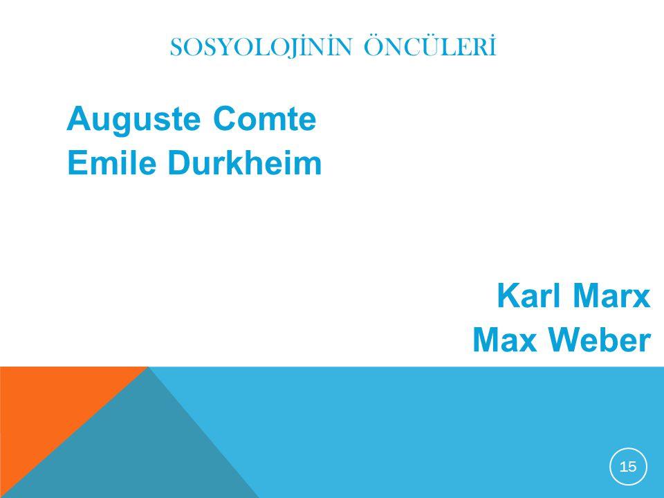 SOSYOLOJ İ N İ N ÖNCÜLER İ Auguste Comte Emile Durkheim Karl Marx Max Weber 15