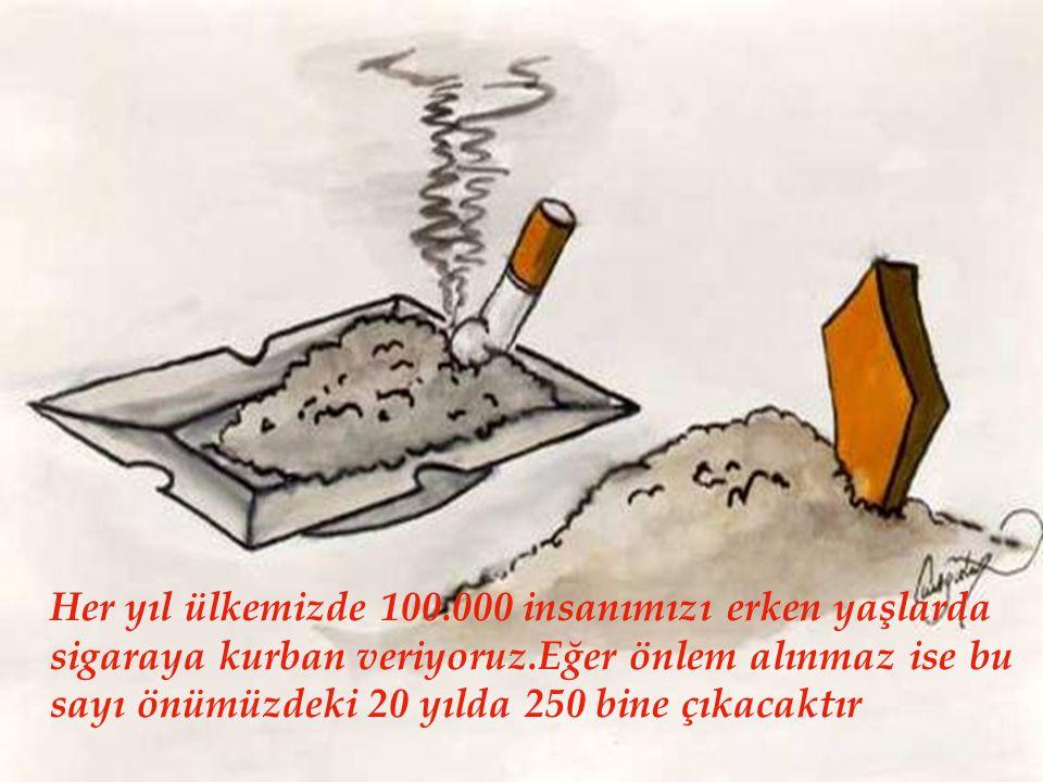Her yıl ülkemizde 100.000 insanımızı erken yaşlarda sigaraya kurban veriyoruz.Eğer önlem alınmaz ise bu sayı önümüzdeki 20 yılda 250 bine çıkacaktır