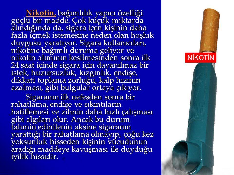 Nikotin, bağımlılık yapıcı özelliği güçlü bir madde. Çok küçük miktarda alındığında da, sigara içen kişinin daha fazla içmek istemesine neden olan hoş