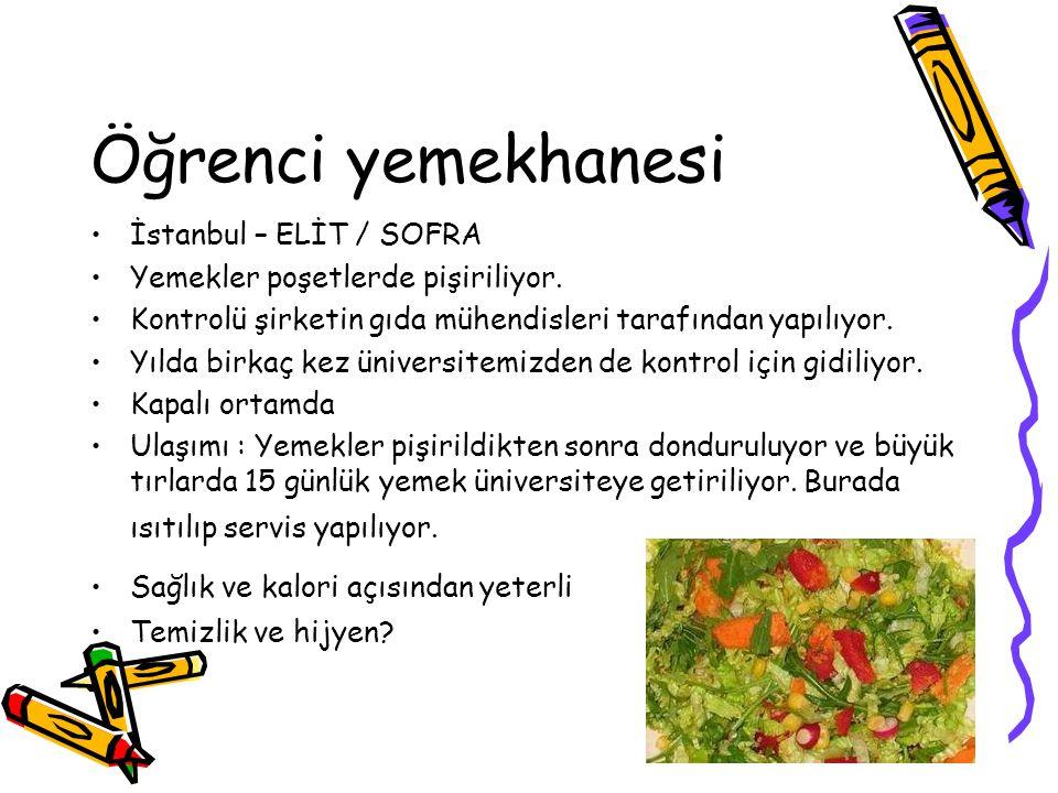 Öğrenci yemekhanesi İstanbul – ELİT / SOFRA Yemekler poşetlerde pişiriliyor. Kontrolü şirketin gıda mühendisleri tarafından yapılıyor. Yılda birkaç ke