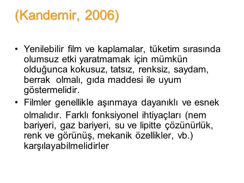 (Kandemir, 2006) Yenilebilir film ve kaplamalar, tüketim sırasında olumsuz etki yaratmamak için mümkün olduğunca kokusuz, tatsız, renksiz, saydam, ber