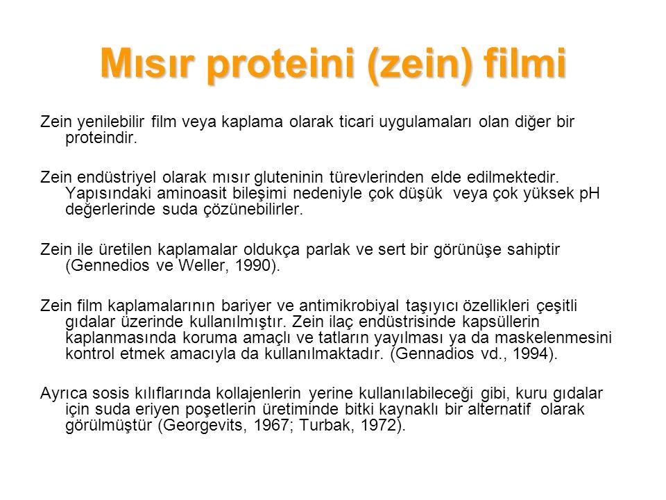 Mısır proteini (zein) filmi Zein yenilebilir film veya kaplama olarak ticari uygulamaları olan diğer bir proteindir. Zein endüstriyel olarak mısır glu
