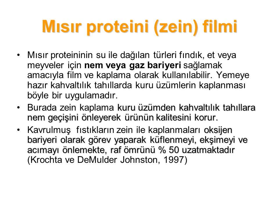 Mısır proteini (zein) filmi Mısır proteininin su ile dağılan türleri fındık, et veya meyveler için nem veya gaz bariyeri sağlamak amacıyla film ve kap