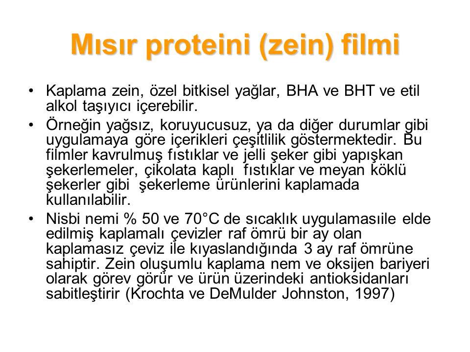 Mısır proteini (zein) filmi Kaplama zein, özel bitkisel yağlar, BHA ve BHT ve etil alkol taşıyıcı içerebilir. Örneğin yağsız, koruyucusuz, ya da diğer