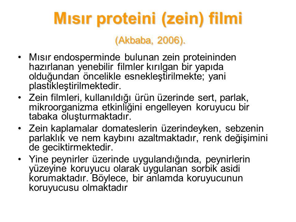 Mısır proteini (zein) filmi (Akbaba, 2006). Mısır endosperminde bulunan zein proteininden hazırlanan yenebilir filmler kırılgan bir yapıda olduğundan