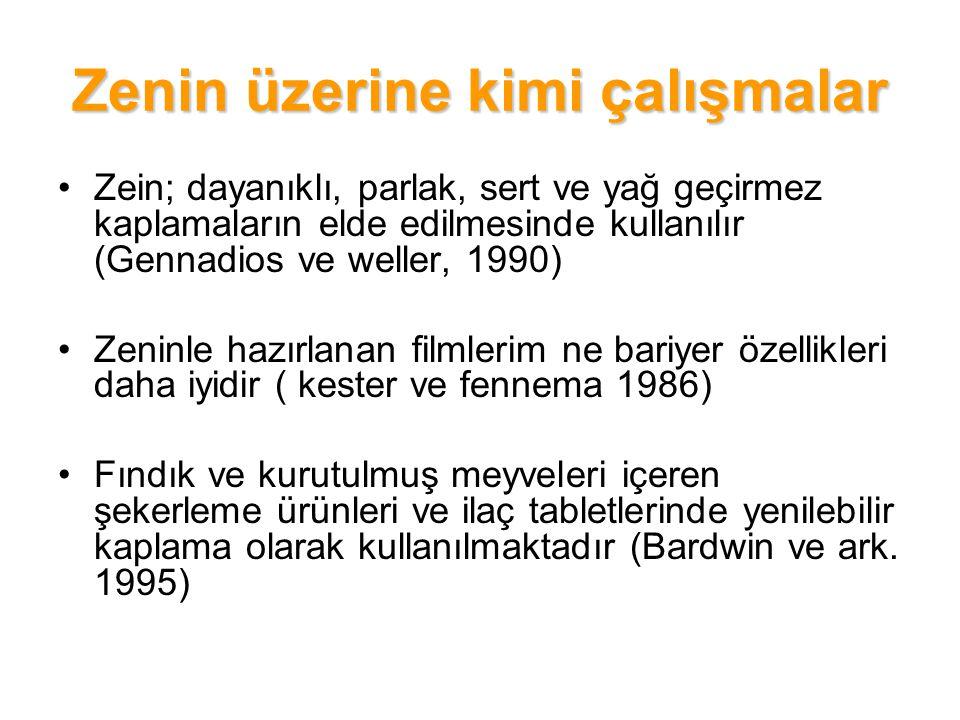 Zenin üzerine kimi çalışmalar Zein; dayanıklı, parlak, sert ve yağ geçirmez kaplamaların elde edilmesinde kullanılır (Gennadios ve weller, 1990) Zenin