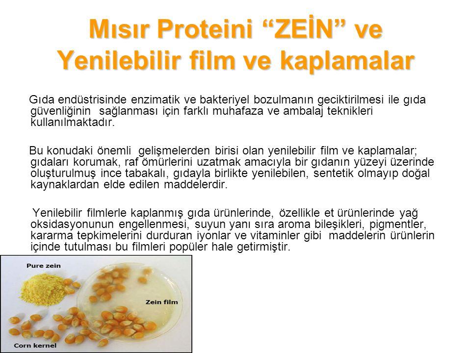 Mısır Proteini ZEİN ve Yenilebilir film ve kaplamalar En önemlisi yenilebilir film ve kaplamalar, plastiklerle yapılan gıda ambalajlamasının ciddi bir sorunu olan kanserojen riskini taşımamakta ve atık sorunu da oluşturmamaktadır.