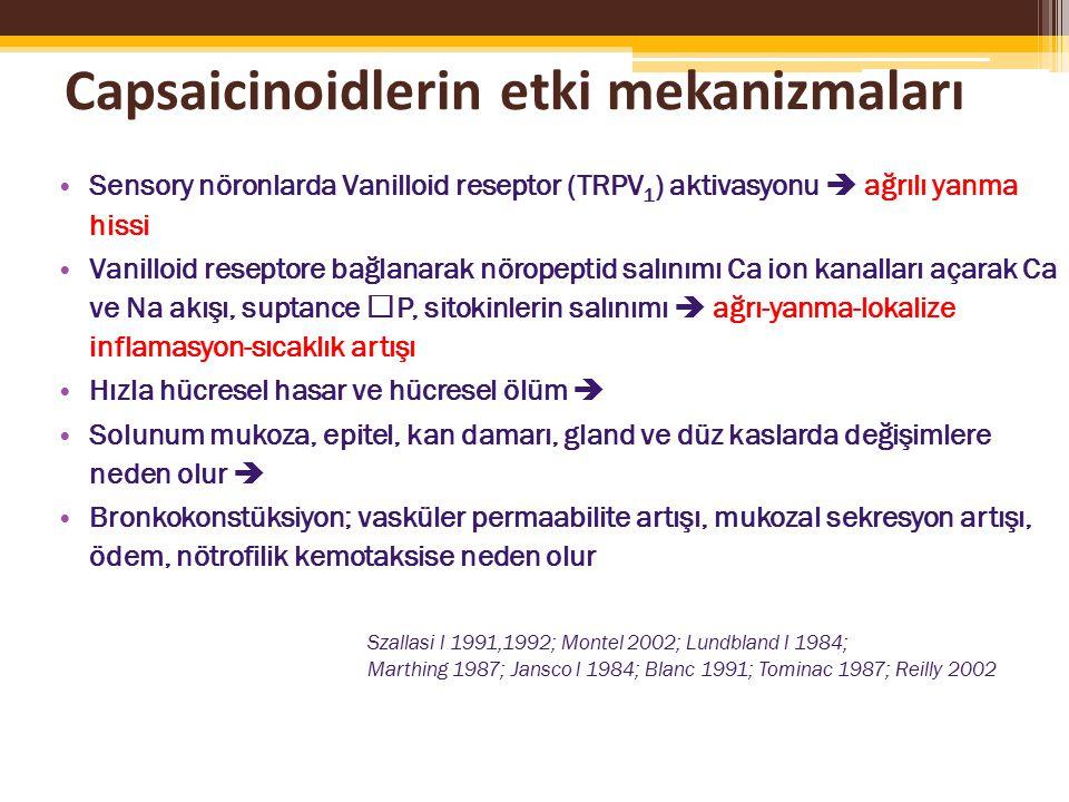 Capsaicinoidlerin etki mekanizmaları Sensory nöronlarda Vanilloid reseptor (TRPV 1 ) aktivasyonu  ağrılı yanma hissi Vanilloid reseptore bağlanarak nöropeptid salınımı Ca ion kanalları açarak Ca ve Na akışı, suptance P, sitokinlerin salınımı  ağrı-yanma-lokalize inflamasyon-sıcaklık artışı Hızla hücresel hasar ve hücresel ölüm  Solunum mukoza, epitel, kan damarı, gland ve düz kaslarda değişimlere neden olur  Bronkokonstüksiyon; vasküler permaabilite artışı, mukozal sekresyon artışı, ödem, nötrofilik kemotaksise neden olur Szallasi l 1991,1992; Montel 2002; Lundbland l 1984; Marthing 1987; Jansco l 1984; Blanc 1991; Tominac 1987; Reilly 2002