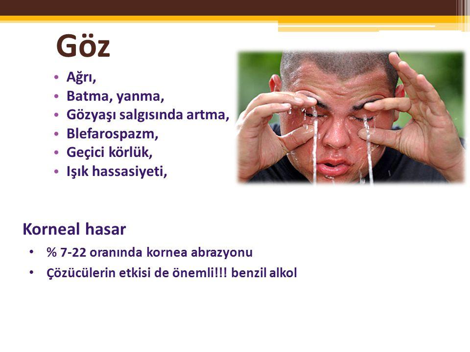 Göz Ağrı, Batma, yanma, Gözyaşı salgısında artma, Blefarospazm, Geçici körlük, Işık hassasiyeti, Korneal hasar % 7-22 oranında kornea abrazyonu Çözücülerin etkisi de önemli!!.