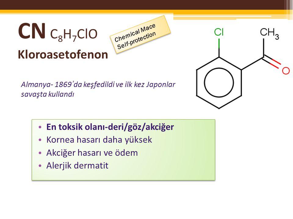 CS C 10 H 6 ClN 2 o- kloro benzalmalononitril 1928 yılında ( C orson & S toughton) üretmiş – göz yaşartıcı olarak tanımlanmış; Kapsül içine sıkıştırılarak sprey/toz halde salınıyor/aerosol form yakın temasta blister etkili CS'ye silika jel koyarak CS1 ve 2 yapılarak etkisi ve süresi arttırılıyor.