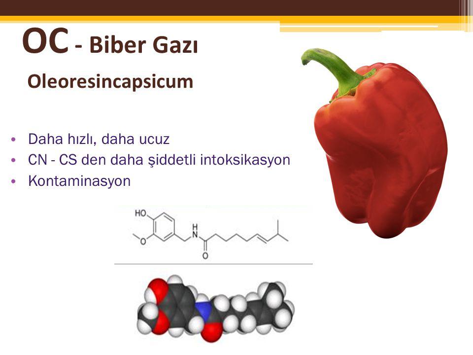 OC - Biber Gazı Oleoresincapsicum Daha hızlı, daha ucuz CN - CS den daha şiddetli intoksikasyon Kontaminasyon