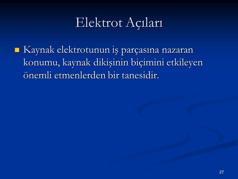 27 Elektrot Açıları Kaynak elektrotunun iş parçasına nazaran konumu, kaynak dikişinin biçimini etkileyen önemli etmenlerden bir tanesidir. Kaynak elek