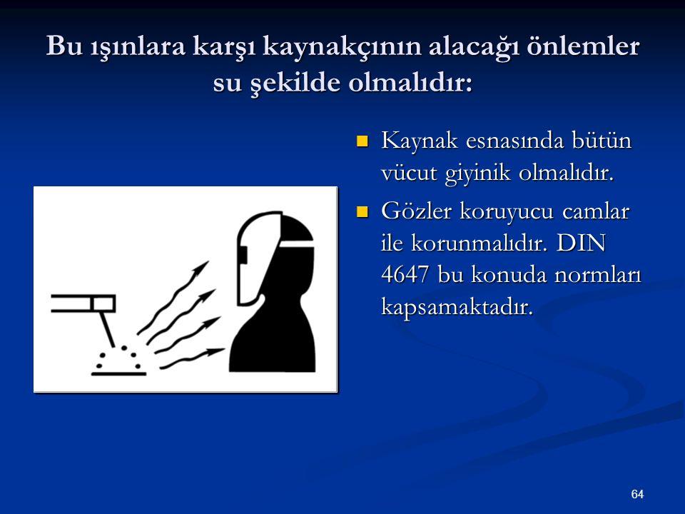64 Bu ışınlara karşı kaynakçının alacağı önlemler su şekilde olmalıdır: Kaynak esnasında bütün vücut giyinik olmalıdır. Gözler koruyucu camlar ile kor