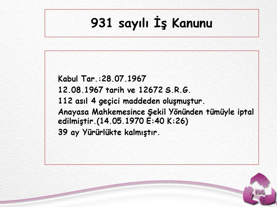 Tel: +90 (312) 215 50 21 Faks: +90 (312) 215 50 28 e-posta: isggm@csgb.gov.tr http://isggm.calisma.gov.tr  Kabul Tar.:28.07.1967  12.08.1967 tarih ve 12672 S.R.G.