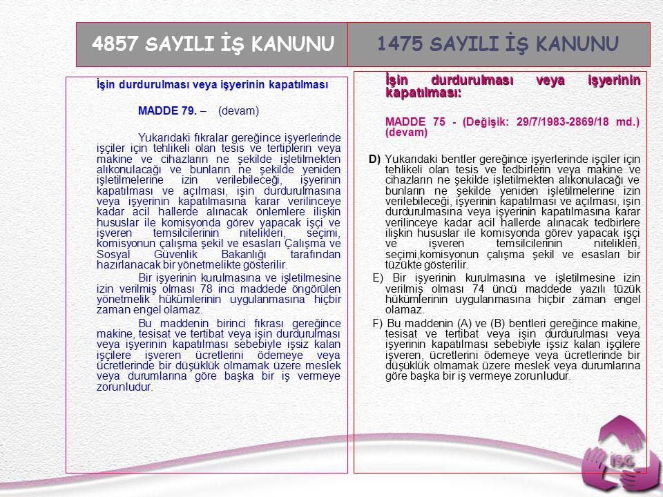 Tel: +90 (312) 215 50 21 Faks: +90 (312) 215 50 28 e-posta: isggm@csgb.gov.tr http://isggm.calisma.gov.tr İşin durdurulması veya işyerinin kapatılması MADDE 79.