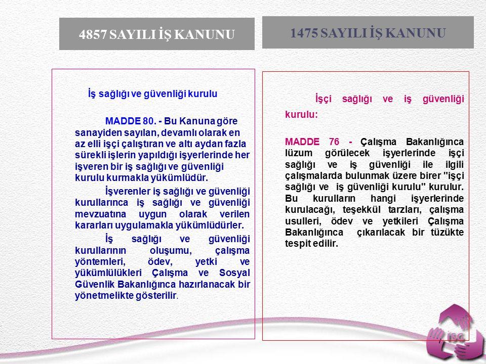 Tel: +90 (312) 215 50 21 Faks: +90 (312) 215 50 28 e-posta: isggm@csgb.gov.tr http://isggm.calisma.gov.tr İş sağlığı ve güvenliği kurulu MADDE 80.