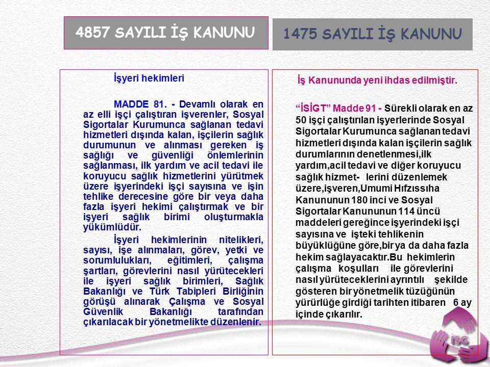 Tel: +90 (312) 215 50 21 Faks: +90 (312) 215 50 28 e-posta: isggm@csgb.gov.tr http://isggm.calisma.gov.tr İşyeri hekimleri MADDE 81.