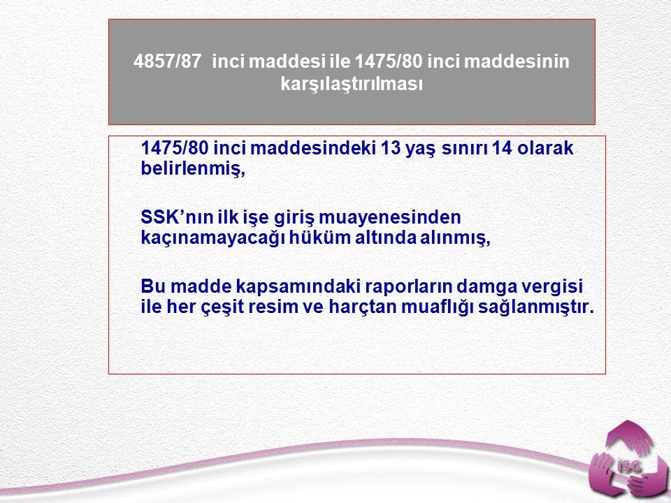 Tel: +90 (312) 215 50 21 Faks: +90 (312) 215 50 28 e-posta: isggm@csgb.gov.tr http://isggm.calisma.gov.tr 4857/87 inci maddesi ile 1475/80 inci maddesinin karşılaştırılması   1475/80 inci maddesindeki 13 yaş sınırı 14 olarak belirlenmiş,   SSK'nın ilk işe giriş muayenesinden kaçınamayacağı hüküm altında alınmış,   Bu madde kapsamındaki raporların damga vergisi ile her çeşit resim ve harçtan muaflığı sağlanmıştır.